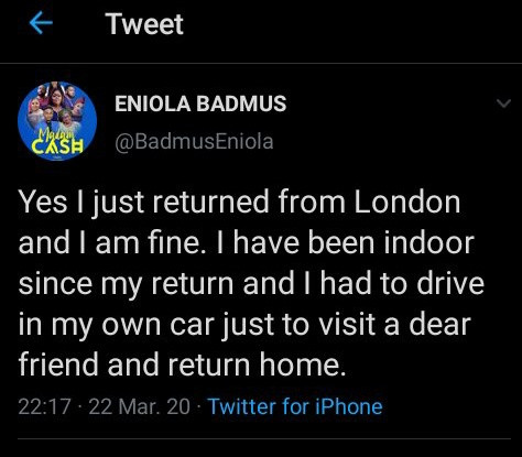 Eniola Badmus called out for not self-isolating after returning from UK