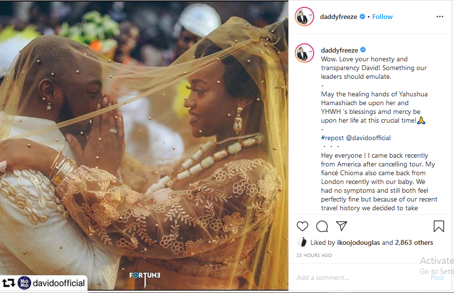Daddy Freeze reacts to reports that Davido's girlfriend Chioma has tested positive for coronavirus