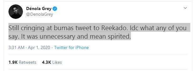 Burna Boy's tweet to Reekado was mean spirited, Denola Grey